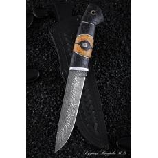 Outdoorový nůž VORSMA DIVOČÁK, Damašek, černý hrab, karelianská...