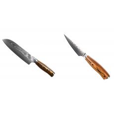 Santoku nůž Seburo SUBAJA II Damascus 190mm + Nůž na ovoce a...