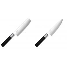 Wasabi Black Nakiri KAI 165mm + Malý šéfkuchařský nůž KAI Wasabi...