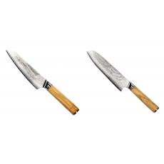 Šéfkuchařský nůž Seburo HOKORI EDGE Damascus, 155mm + Santoku...